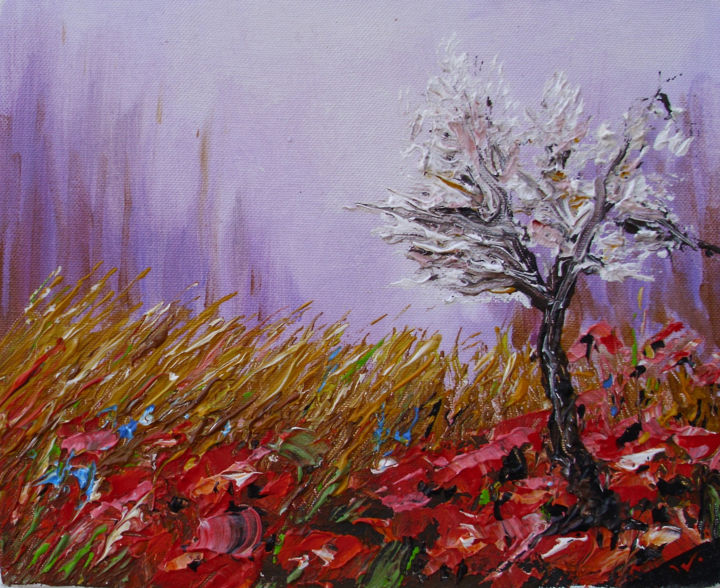 """Painting titled """"poppies at dawn"""" by Ivo, Original Art, Oil"""