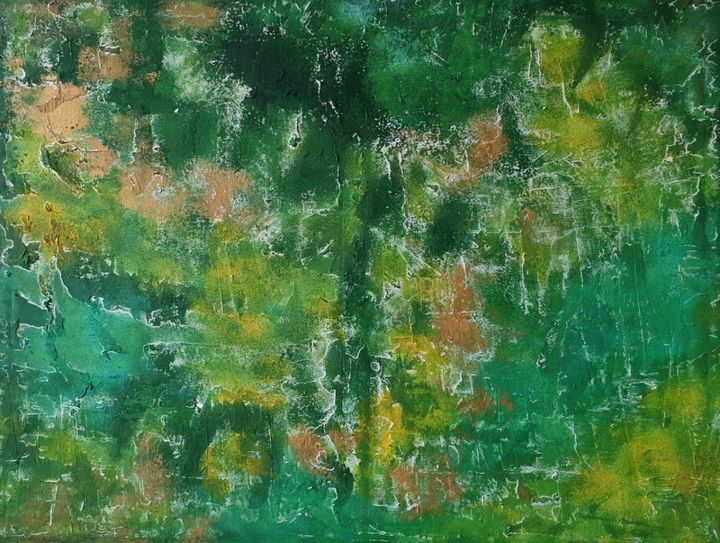 Original Painting Abstract Art Green Landscape Flo - Painting,  60x80x1 cm ©2019 by Iveta Kārkla -                                                                                                                                                            Abstract Art, Abstract Expressionism, Art Deco, Contemporary painting, Impressionism, Minimalism, Modernism, Canvas, Abstract Art, Botanic, Flower, wall decor, wallart, textured art, green art, gold art, landscape art, abstract art, acrylic art, original art