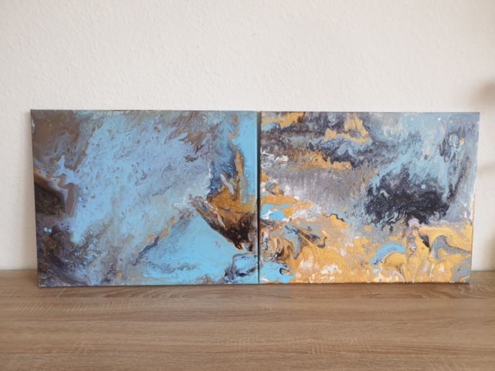 2 Set Fluid art Landscape Painting Abstract  Art O - Painting,  40x50x1 cm ©2019 by Iveta Kārkla -                                                                                                                                                Abstract Art, Abstract Expressionism, Art Deco, Contemporary painting, Impressionism, Minimalism, Modernism, Canvas, Abstract Art, Flower, 2 set, fluid art, fluid painting, pour art, abstract art, abstract painting, acrylic art