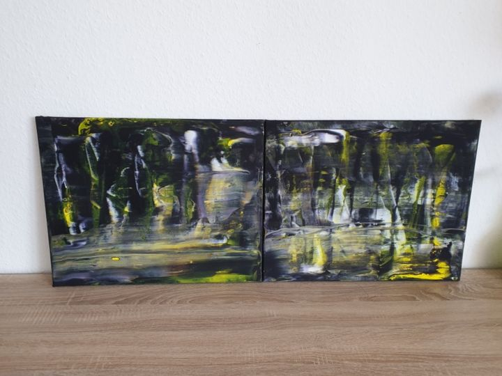 2 Set Fluid art Landscape Painting Abstract  Art O - Painting,  40x50x1 cm ©2019 by Iveta Kārkla -                                                                                                                                                            Abstract Art, Abstract Expressionism, Art Deco, Contemporary painting, Impressionism, Minimalism, Modernism, Canvas, Abstract Art, Cities, Cityscape, black and white, yellow, wall art, wall decor, abstract art, abstract painting, acrylic art, original art