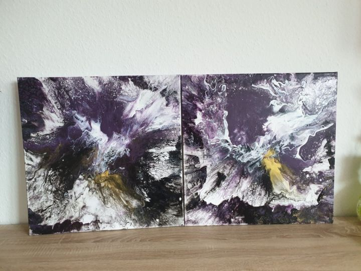 2 Set Fluid art Landscape Painting Abstract  Art O - Painting,  50x50x1 cm ©2019 by Iveta Kārkla -                                                                                            Abstract Art, Abstract Expressionism, Art Deco, Contemporary painting, Abstract Art, Flower, 2set, 2setart, 2setpainting, fluidart, fluidpainting, purpleart, walldecor, wallart
