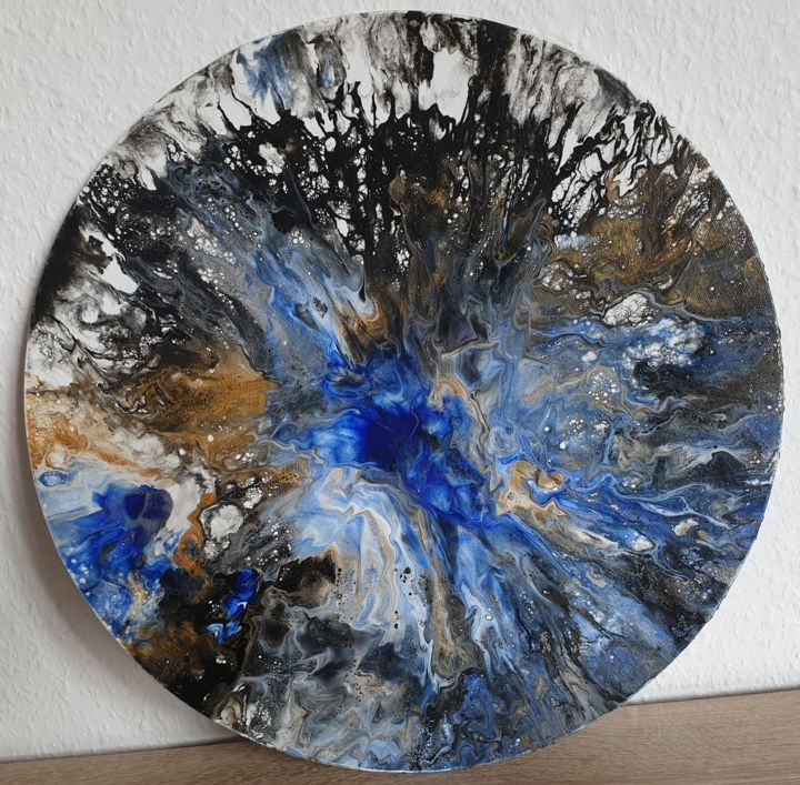 Fluid Painting Abstract Art Black Blue Gold White - Painting,  40x40x0.1 cm ©2019 by Iveta Kārkla -                                                                                                                        Abstract Art, Abstract Expressionism, Art Deco, Contemporary painting, Canvas, Other, Abstract Art, Colors, roundart, roundpainting, roundcanvaspanel, fluidart, fluidpainting, wallart, walldecor, blueart, goldart