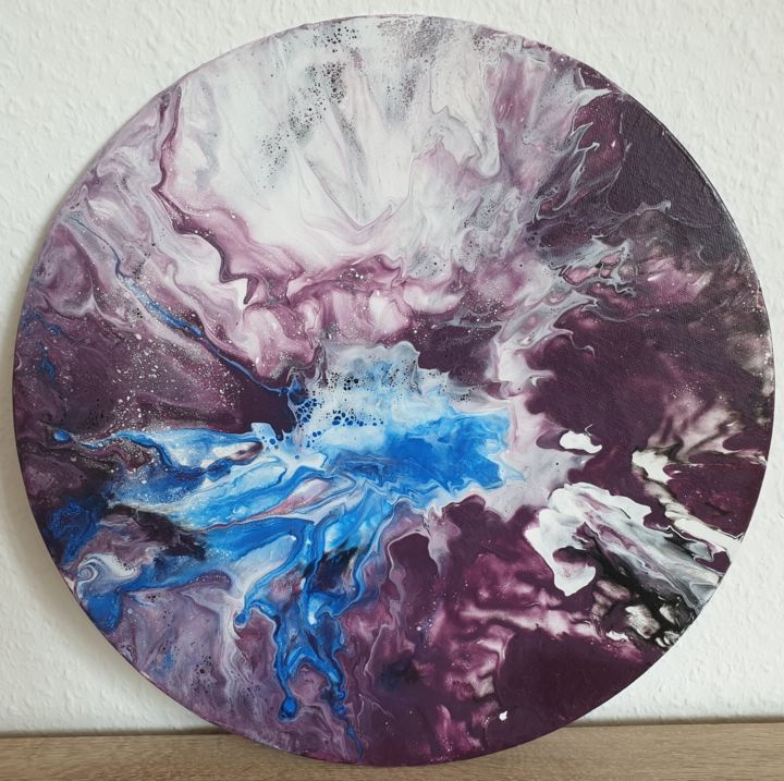 Fluid Painting Abstract Art Purple Blue White Art - Painting,  40x40x0.1 cm ©2019 by Iveta Kārkla -                                                                                                            Abstract Art, Abstract Expressionism, Art Deco, Contemporary painting, Other, Abstract Art, Colors, roundart, roundpainting, roundcanvaspanel, wallart, walldecor, fluidart, fluidpainting, purpleart, waves, clouds