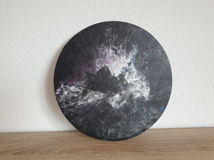 Fluid Painting Abstract Art Black Gold Blue Purple - Painting,  40x40x0.1 cm ©2019 by Iveta Kārkla -                                                                                            Abstract Art, Abstract Expressionism, Art Deco, Contemporary painting, Abstract Art, Colors, roundart, roundpainting, roundcanvaspanel, waves, fluidart, fluidpainting, abstractart, wallart, walldecor
