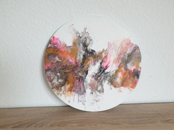 Fluid Painting Abstract Art White Gold Pink Black - Painting,  40x40x0.1 cm ©2019 by Iveta Kārkla -                                                                                                            Abstract Art, Abstract Expressionism, Art Deco, Contemporary painting, Other, Abstract Art, Colors, roundart, roundpainting, roundcanvaspanel, fluidart, fluidpainting, waves, clouds, wallart, walldecor