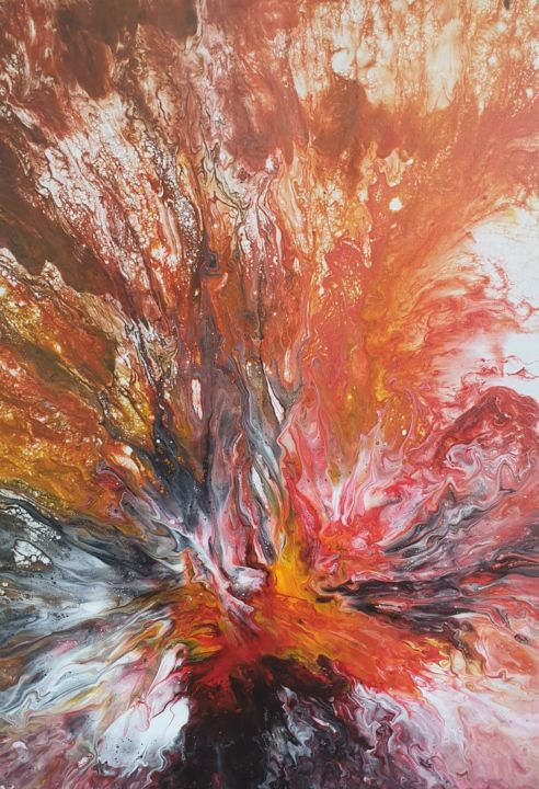 Red Landscape Painting Original Art Fluid Flowers - Painting,  50x70x1 cm ©2019 by Iveta Kārkla -                                                                                            Abstract Art, Abstract Expressionism, Art Deco, Contemporary painting, Abstract Art, Flower, fluid art, fluid painting, flowers, waves, absract art, abstract painting, wall art, wall decor, red art, original art, interior art