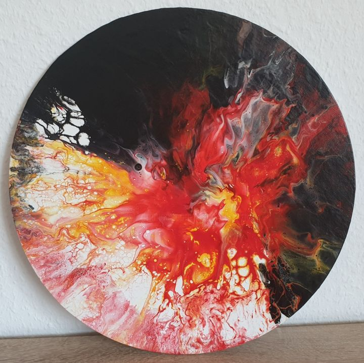 Painting original round abstract red flowers Fluid - Painting,  40x40x0.1 cm ©2019 by Iveta Kārkla -                                                                                                            Abstract Art, Abstract Expressionism, Art Deco, Contemporary painting, Other, Abstract Art, Flower, round art, round painting, wall art, wall decor, fluid art, fluid painting, red art, red painting, waves flowers, abstract art, abstract painting