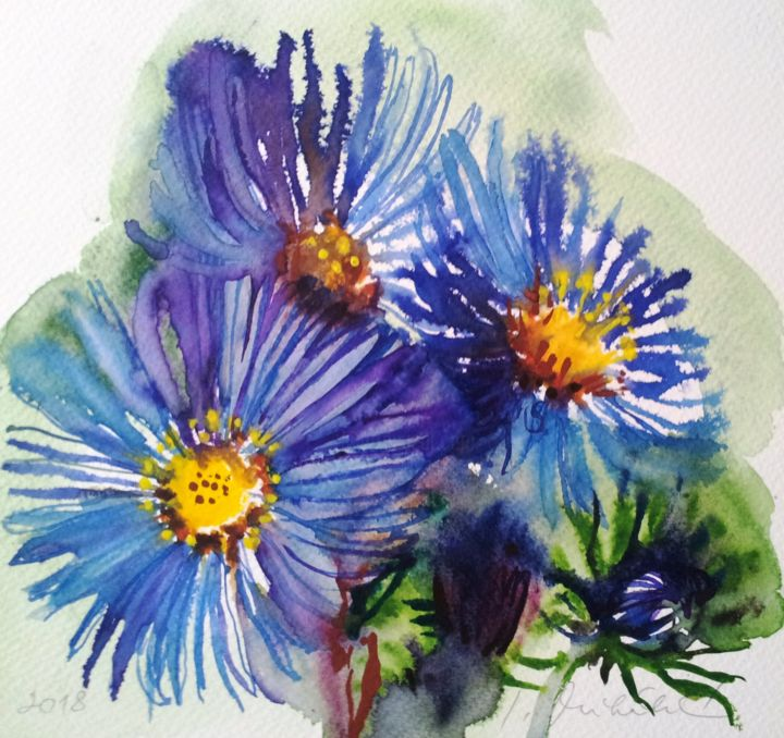 """Painting titled """"Asters"""" by Im, Original Art, Watercolor"""