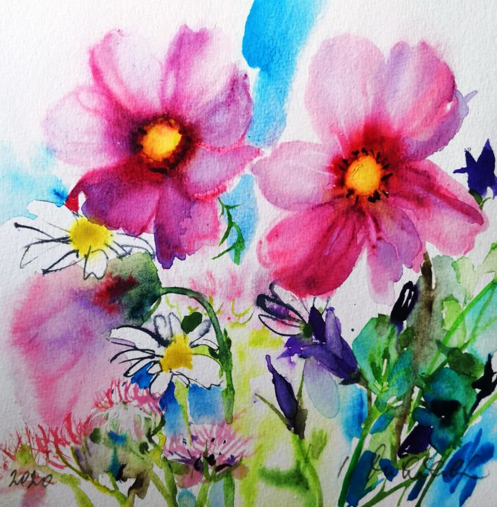 """Painting titled """"Meadow Flowers"""" by Im, Original Art, Watercolor"""
