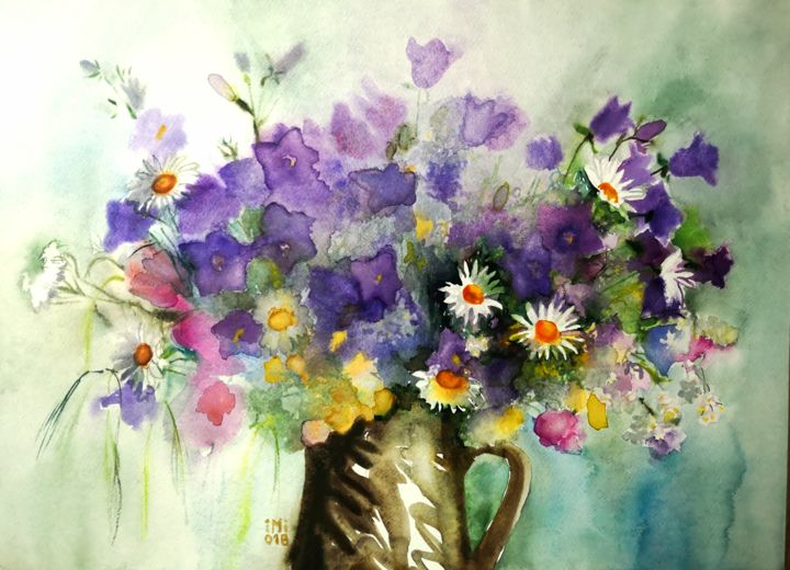 """Painting titled """"Bouquet - Bells"""" by Im, Original Art, Watercolor"""