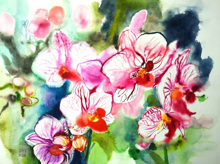 """Painting titled """"Big Orchids"""" by Im, Original Art, Watercolor"""