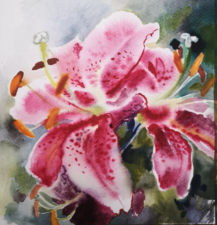 """Painting titled """"Lilies"""" by Im, Original Art, Watercolor"""