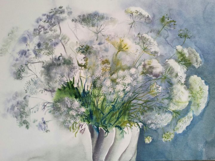 """Painting titled """"White Bouquet"""" by Im, Original Art, Watercolor"""