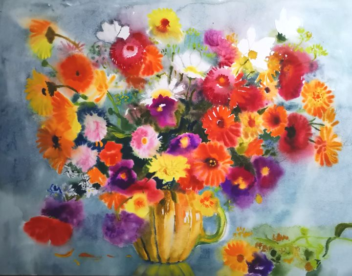 """Painting titled """"Big Bouquet"""" by Im, Original Art, Watercolor"""