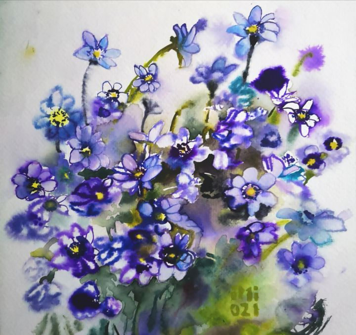 """Painting titled """"Blue Flowers"""" by Im, Original Art, Watercolor"""