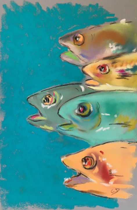 Têtes de poissons - © 2017 Poissons, Fishes, Pastel Online Artworks