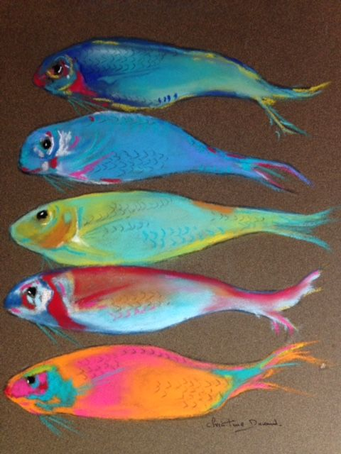 5 Poissons - Painting,  40x30 cm ©2018 by Christine Durand -                                                            Figurative Art, Paper, Seascape, Poissons, Fishes, Pastel