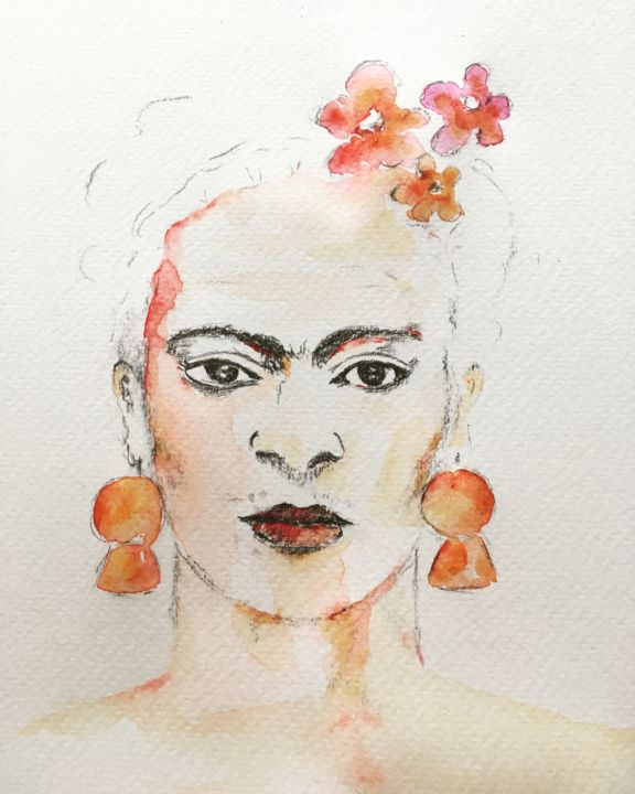 Frida Kahlo - ©  Frida Kahlo, Portrait, Aquarelle, Watercolor Online Artworks