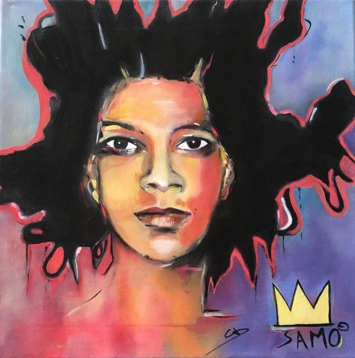 Basquiat - Painting,  40x40 cm ©2018 by Christine Durand -                                                            Figurative Art, Canvas, Celebrity, Basquiat, Artist, Graffitis, Underground, Portrait