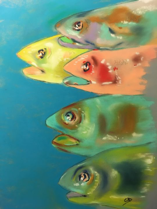 Têtes de poissons 3 - Painting,  11.8x9.5 in, ©2019 by Christine D -                                                                                                                                                                                                                                                                                                                                                              Figurative, figurative-594, Fish, Poisson, Fishes, Pastelpainting, Pastelart