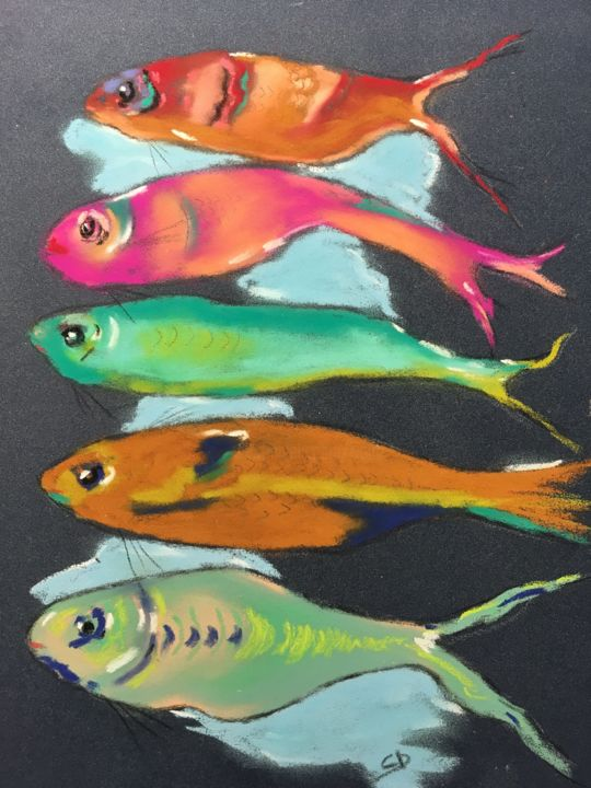 5 poissons 4 - Painting,  11.8x9.5 in, ©2019 by Christine D -                                                                                                                                                                                                                                                                                                                  Figurative, figurative-594, Fish, Poissons, Fishes, Pastel