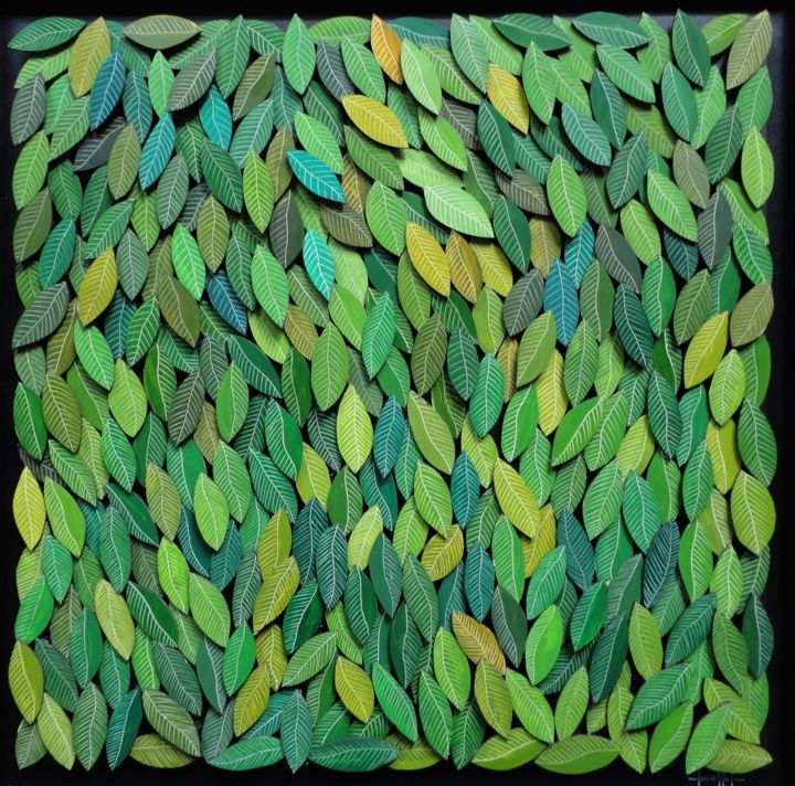 feuilles.jpg - Painting,  70x70 cm ©2016 by Paul Sarrassat -