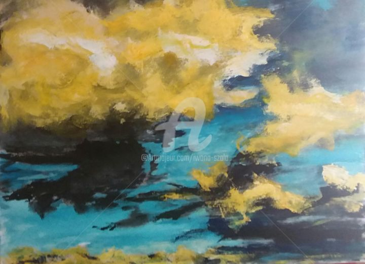 Les nuages - Painting,  31.5x47.2 in, ©2019 by IS -                                                                                                                                                                          Abstract, abstract-570, Aerial