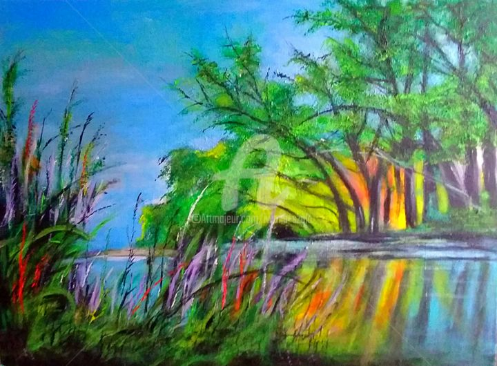 Paysage - Painting,  23.6x31.5x0.8 in, ©2019 by IS -                                                                                                                                                                          Expressionism, expressionism-591, Botanic