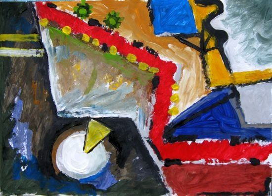 Traffic - Painting,  41x29 cm ©2009 by Ixygon -                            Abstract Art, traffic abstract