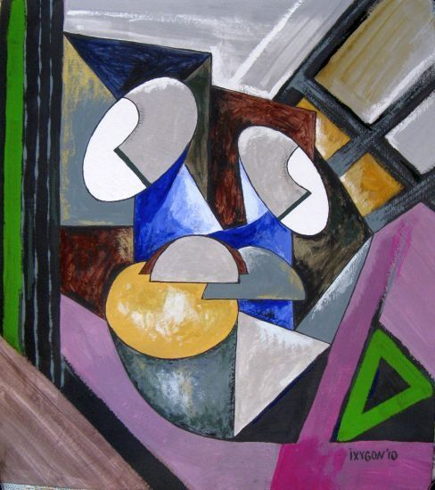 Cubic composition - Painting,  52x46 cm ©2010 by Ixygon -                            Cubism, cubism painting figure