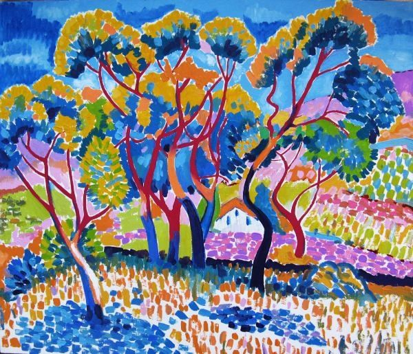 Trees (after Derain) - Painting,  70x60 cm ©2011 by Ixygon -                        Fauvism