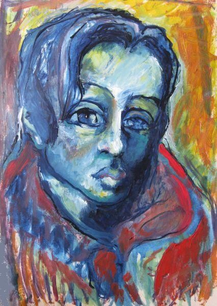 """Painting titled """"Woman in red"""" by Ixygon, Original Art, Oil"""