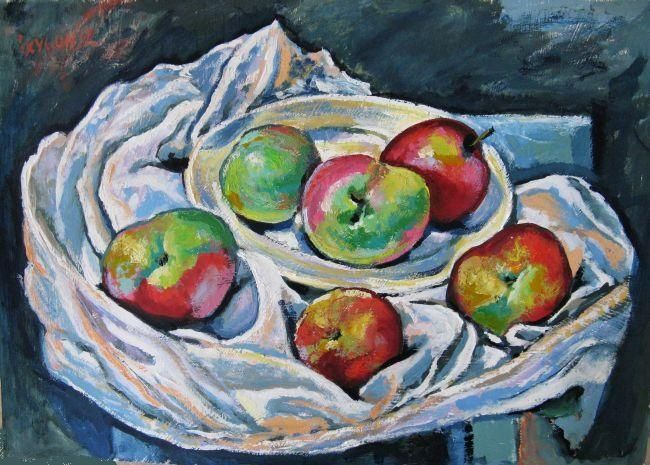 Neighbour's Apples - Painting,  30x42 cm ©2012 by Ixygon -                        Figurative Art