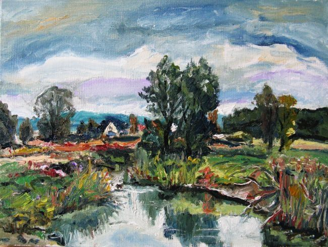"""Painting titled """"Near the river"""" by Ixygon, Original Art, Oil"""