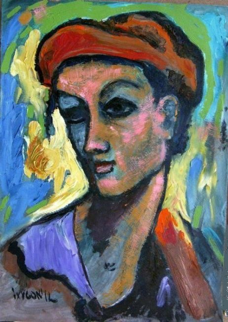 """Painting titled """"Woman in Red Hat"""" by Ixygon, Original Art,"""