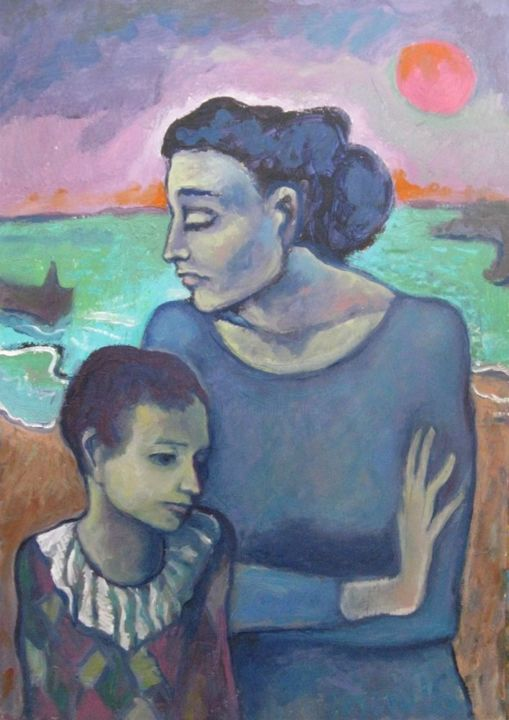 """Painting titled """"Mother and Son"""" by Ixygon, Original Art, Oil"""