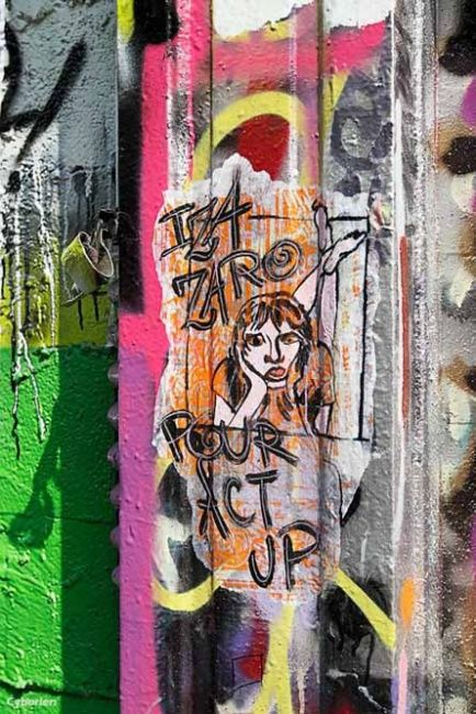 Act Up Paris - Painting ©2012 by IZa Zaro -            iza zaro, act up, street art, pop street art, rue desnoyers paris