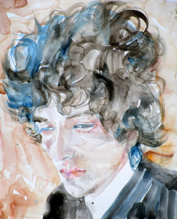 BOB DYLAN - Painting, ©2016 by LAUTIR -                                                                                                                                                                                                                                                                                                                                                              Figurative, figurative-594, Music, bob, dylan, bob dylan, dylan bob