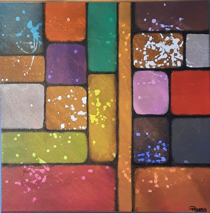 """Painting titled """"Brick Wall"""" by Poussy, Original Art, Acrylic"""