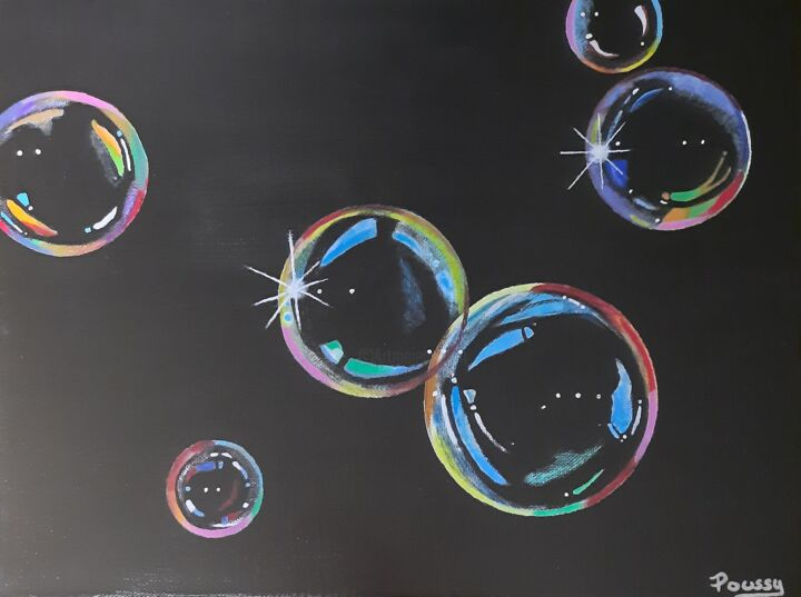 """Painting titled """"Bubbles"""" by Poussy, Original Art, Acrylic"""