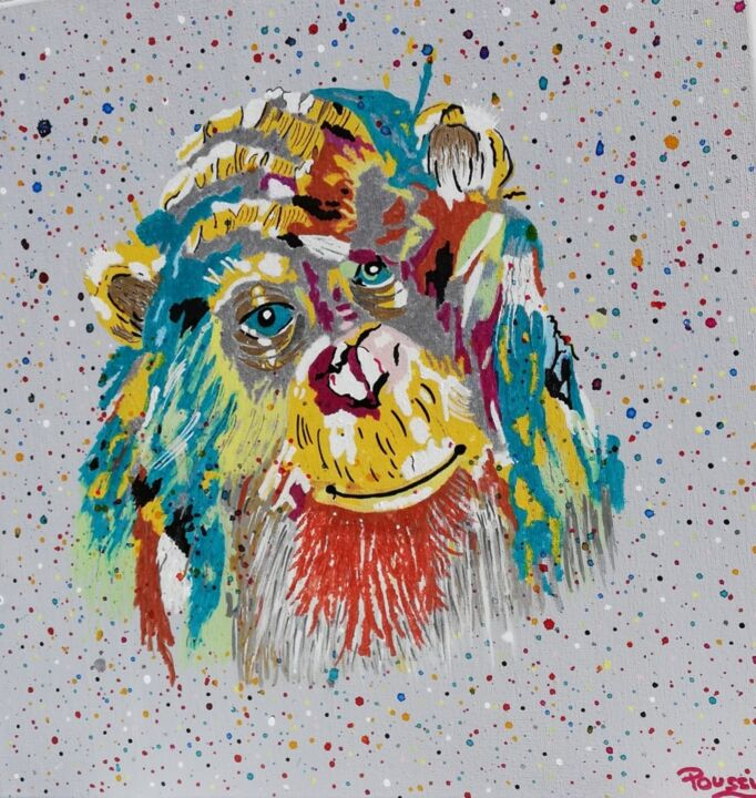 """Painting titled """"Little Monky"""" by Poussy, Original Art, Acrylic"""
