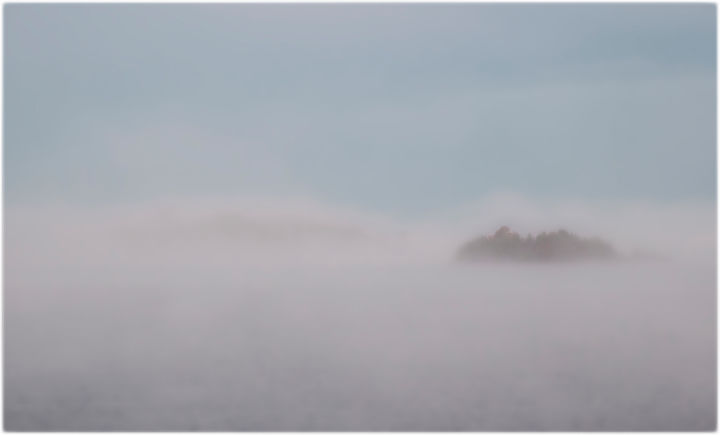 """Photography titled """"Island In The Mist"""" by John Pingree, Original Art, Digital Photography"""