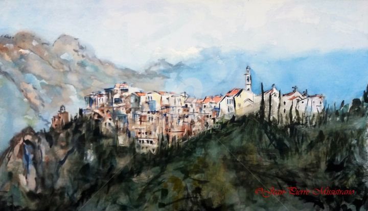 Montemaggiore - Painting,  18.5x29.9 in, ©2017 by Jean-Pierre Missistrano -                                                                                                                                                                                                      Mountainscape, Aquarelle., Paysage de montagne, Jean-Pierre Missistrano