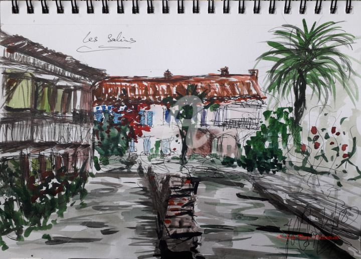 """Les Salins"" - Painting,  9x12 in, ©2018 by Jean-Pierre Missistrano -                                                                                                                                                                                                                                                                                                                  Figurative, figurative-594, Cityscape, Carnet de Voyage., Aquarelle, Jean-Pierre Missistrano"