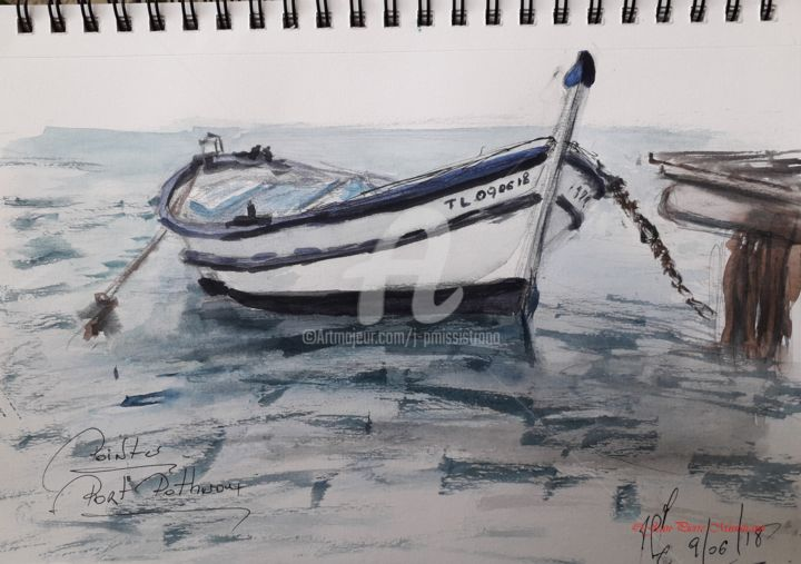 """Pointu au Port Pothuau"" - Painting,  30.5x22.9 cm ©2018 by Jean-Pierre MISSISTRANO -                                                            Figurative Art, Paper, Seascape, Carnet de Voyage, Aquarelle, Jean-Pierre Missistrano"