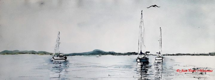 """""""Marnages aux Salins"""" - Painting,  30x75 cm ©2018 by Jean-Pierre MISSISTRANO -                                                            Figurative Art, Paper, Seascape, Aquarelle., Marine, Jean-Pierre Missistrano"""
