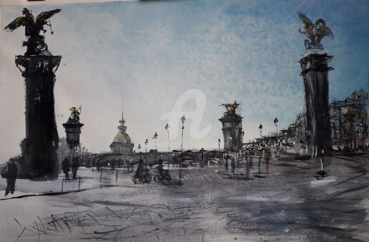 """Pont Alexandre III et Invalides"" - Painting,  15x22.1 in, ©2020 by Jean-Pierre Missistrano -                                                                                                                                                                                                                                                                                                                                                              Figurative, figurative-594, Cityscape, Aquarelle, Paysage urbain, Paris, Jean-Pierre Missistrano"