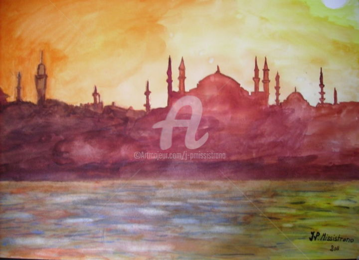 Istanbul - Painting ©2014 by Jean-Pierre MISSISTRANO -                                        Figurative Art, Seascape