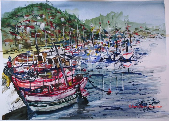 Quand les mâts draguent, à St. Cyr/Mer - Painting,  14.2x18.9 in, ©2015 by Jean-Pierre Missistrano -                                                                                                                                                                                                                                                                                                                  Figurative, figurative-594, Seascape, Aquarelle, Marine, Jean-Pierre Missitrano