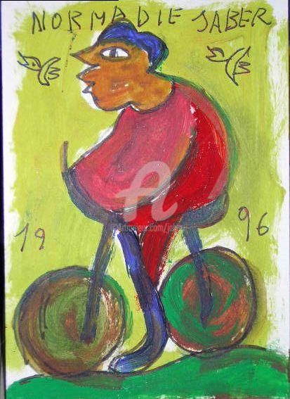 le cycliste - Painting,  5.9x3.9 in, ©1998 by Monsieur Jaber -